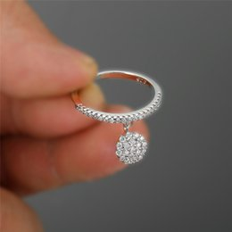 Ring thin band online shopping - RongXing Girls Cute Crystal Stone Dangle Rings For Women Wedding Bands Silver Yellow Gold Color White Round Zircon Thin Ring