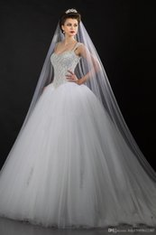 $enCountryForm.capitalKeyWord Australia - 2019 New Bling Bling Crystal Wedding Dresses Sweetheart with Straps Sweep Train Tulle Ball Gown Bridal Gowns Fashion Hot Sale 019