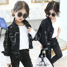 Baby Girls Spring Jackets Australia - Baby Girls Denim Jackets Coats Long Sleeves Black Denim Jacket Spring Fall Children Tassel Streetwear Outwear Kids Denim Coat