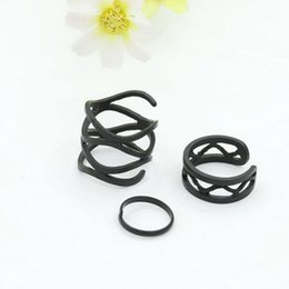 $enCountryForm.capitalKeyWord Australia - 3Pcs 1 set Punk Multilayer Hollow Cross Mini Finger Tip Rings Set Stack Plain Above Knuckle Ring For Women Jewelry Black Gifts