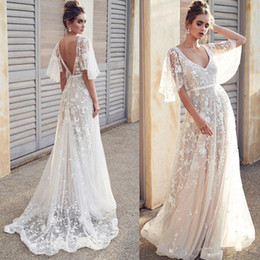 quality beach wraps NZ - Sexy Berta Beach V-neck A Line Wedding Dresses Illusion Lace Open Back Bridal Gowns Boho Wedding Dress Cheap High Quality Gowns
