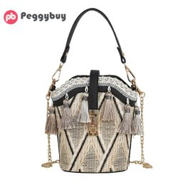 hard shell pack Australia - Tassel Decor Shoulder Messenger Handbags Casual Straw Woven Women Summer Beach Chain Crossbody Bucket Packs Top-handle Bags