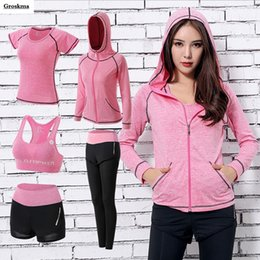 navy hooded women s coat 2019 - Hooded coats+bra+t shirt+shorts+pants women yoga suit quick dry professional sports fitness gym clothing quick dry 5PCS