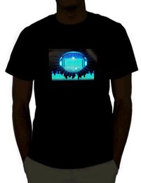 coolste bild großhandel-DJ Sound Aktiviert Light Up Rave T Shirt für Mann Hipster Oansatz Kausal Coole Tops Interessante Bilder T Shirt