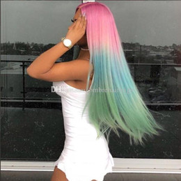 rainbow human hair Canada - Lace Front Wigs Long Silk Straight Omber Rainbow Color Pink Human Hair Lace Wigs