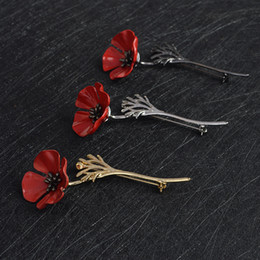 $enCountryForm.capitalKeyWord Canada - Red Poppy Flower Squid Brooch Pin Collar Corsage Gold Silver Black Pins Shirt Badge Vintage Jewelry Gift for Women