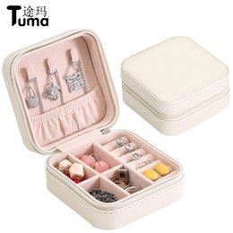 $enCountryForm.capitalKeyWord UK - PU leather monolayer simple jewelry box Creative portable accessories storage box Earrings and ring display cases