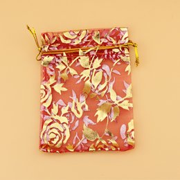 Red jewelRy pouch online shopping - Drawable Red Large Organza Bags x20 cm Favor Wedding Gift Packing Bags Packaging Jewelry Pouches