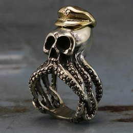 Punk Rings Australia - Mens 316L Stainless Steel Ring Octopus Squid Tentacle Skull Captain Rings Navy Military Fashion Punk Biker Jewelry