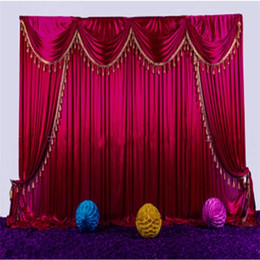 wedding backdrop curtains swag NZ - High Quality Ice silk Wedding Backdrop Curtains with Tassel Swags Stage Performance Background Curtain 3X3M Wedding Deaoration
