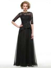 $enCountryForm.capitalKeyWord UK - Fashion A Line Jewel Floor Length Chiffon Black Mother Of The Bridal Dresses Lace Beaded Custom Made Cheap Lace Mother Evening Gowns