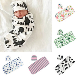 cotton baby bedding sets Canada - INS Newborn Floral Swaddles sleeping bag+hat 2pcs Set Hot Sale Spring autumn Baby Bedding Infant Toddlers Flowers print Blankets C1576