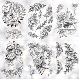 black rose tattoos Canada - Geometric Flower Rose Eye Leaves Waterproof Temporary Tattoo Sticker Diamond Peony Black Tattoos Body Art Arm Fake Tatoo T190711