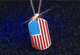 $enCountryForm.capitalKeyWord NZ - Creative United States USA Flag Pendant Necklace Stainless Steel USA National the Stars and Stripes for US Men Patriot Jewelry 50pcs lot
