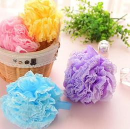 Shower Sponge Handle Australia - High Quality Lace Mesh Pouf Sponge Bathing Spa Handle Body Shower Scrubber Ball Colorful Bath Brushes Sponges LX7105