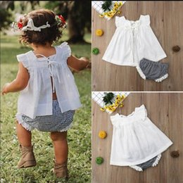 $enCountryForm.capitalKeyWord NZ - INS Baby Girls Summer Sleeveless Tank Vest Plaid Shorts Set 80-100cm Little Girls Toddler White Lace Up Vest Bow Blouse Briefs Suit A3122