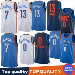 7f78b7fd0c46 13 Paul George jerseys 0 Russell Westbrook 7 Carmelo Anthony Embroidery  Logos Basketball 100% Stitched Jersey