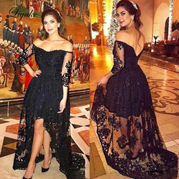 $enCountryForm.capitalKeyWord Australia - 2019 High Low Mother Of Bride Dresses Off Shoulder Lace Applique Beads Wedding Guest Dresses Backless Black Evening Gowns