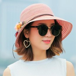 Women Floppy Hat Australia - Fashion women Hat Lady medium Brim Floppy Summer Beach Sun Straw Hat Cap with flower Free Shipping