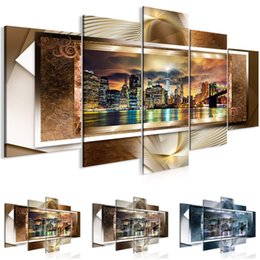 $enCountryForm.capitalKeyWord Australia - Unframed 5 Panels Home Decor Pictures Wall Art Painting Prints of Manhattan Brooklyn Bridge Artwork --Modern City Painting