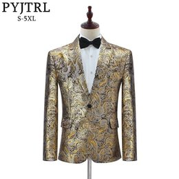 $enCountryForm.capitalKeyWord Australia - Pyjtrl Men Classic Pattern Gold Jacquard Suit Jacket Wedding Groom Party Prom Costume Mens Slim Fit Blazer Singers Clothing
