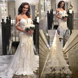 $enCountryForm.capitalKeyWord NZ - 2019 Gorgeous Lace Wedding Dresses Spaghetti Straps Appliques Long Train Summer Boho Bridal Gowns Custom Made with Veil