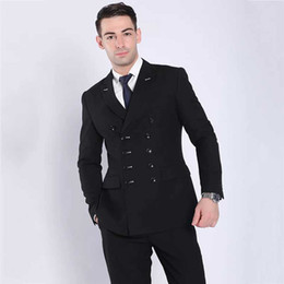 mens double breasted summer suits NZ - India Mens Wedding Suits Double Breasted Black Business Best Man Blazer Groom Tuxedo Groomsmen Outfit Two-Piece Slim Fit Terno Masculino