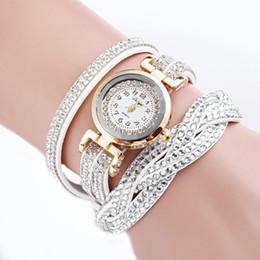 Wrist Watch Glass Chain Australia - Half Side Twist Lady Full Drill Hand Chain watch Lady Quartz Watch Fashion Leather Women Casual Wrist