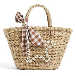 $enCountryForm.capitalKeyWord Australia - natural eco designer summer straw round basket tote hand bag little girls grass woven braided beach bucket scarf kids handbags for children