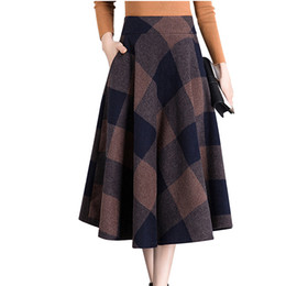 ca01153d3d9 Vintage Plaid Skirt Women Autumn Winter England Style High Waist Woolen  Skirt Midi Length Elegant Plus Size Ladies A-line skirts