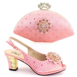 New Fashion Italian Shoes with Matching Bags Set pink Color High Heel  Sandal Women Summer Shoes African Wedding Shoe and Bag Set 963ad03a4361
