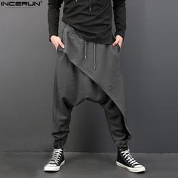 Wholesale baggy crotch hip hop trousers for sale – dress INCERUN Casual Men Cross Pants Deep Crotch Trousers Elastic Waist Loose Baggy Swag Hip Hop Dance Loose Harem Men s Pants S XL