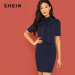 e7a63fba125 Shein Navy Modern Lady Workwear Stand Collar Bow Tie Neck Striped Pencil  Slim Zipper Dress 2018 Summer Elegant Women Dresses Y190123