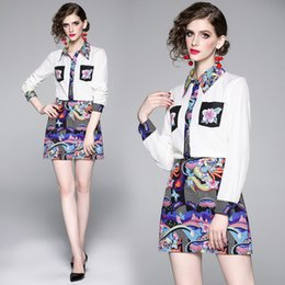 $enCountryForm.capitalKeyWord Australia - Womens skirt two-piece fashion printing temperament celebrity temperament long-sleeved shirt coat printed skirt two-piece