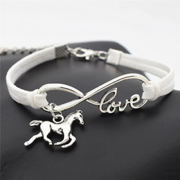Leather Horse Jewelry NZ - 2019 New Fashion Infinity Love Horse Pendant Charm Jewelry Wholesale Punk White Leather Suede Cuff Bracelets For Female Male Christmas Gifts