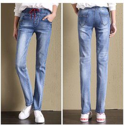 student light Canada - Light Blue The New Female Tall Waist Elastic Waist Straight Jeans Trousers Loose Fat Mm Han Edition Elastic Wide-Legged Pants Students