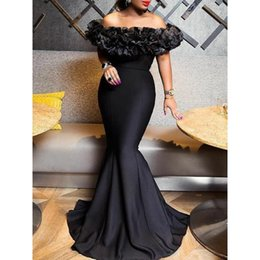 trumpet style maxi dress Australia - Sexy Women Mermaid Dress 2019 Slash Neck Black Long Maxi Dress Robe Porm Mermaid Party Dinner Elegant Long Trumpet Dress T5190617