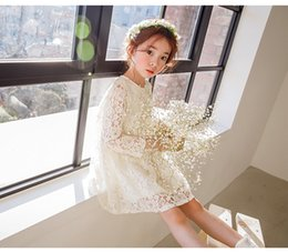 Formal Full Length Tutu Australia - Girl lace princess dress ins fashion Wedding dress Spring and Autumn Long Sleeve Elegant Party tutu Dresses children costumes kids clothing