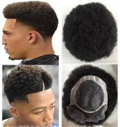 hair toupee wig UK - Men Hair System Wig Mens Hairpieces Afro Curl Front Lace with Mono NPU Toupee Jet Black European Virgin Human Hair Replacement for Men
