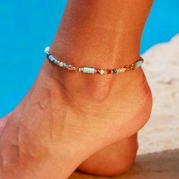 simple chain anklets NZ - New Bohemian Style Simple Beach Anklet Personality Pure Color Hand Woven Beaded Foot Chain Anklet Bracelet for Women Jewelry