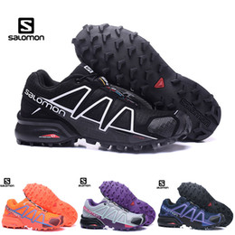 Wholesale Salomon Speed Cross 4 IV CS Chaussures de randonnée pour femme Zapatos Hombre SpeedCross 4s Noir Pourpre Orange Plein Air Sportif Sneakers