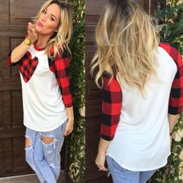 Striped ShirtS for women online shopping - Valentine s Day Plaid Heart Raglan Half Sleeve T shirt for Girlfriend Women Spring Plus Size Casual Shirt MMA1311