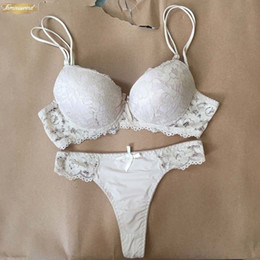 organic cotton lingerie NZ - Lace Thong Sexy Push Up Bra Set Lingerie Floral Sets Intimates Embroidery Women Black White Bra Brief Sets