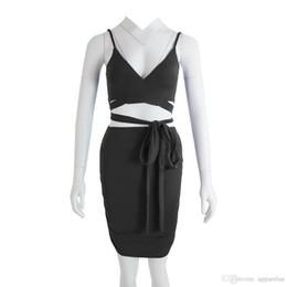 Ligera vendaje dos falda sexy falda de verano otoño profundo cuello en V bolsa cadera vestido de dos piezas