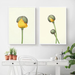 botanical prints NZ - Nordic Yellow Dandelion Bud Canvas Art Paintings Print Pictures for Living Room Home Decor Botanical Wall Artwork