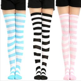 basketball sexy girl NZ - College girls sexy stripe socks women stripes knees women cosplay socks Cheerleaders knees high tube stocking Cotton Thigh stocking