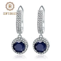pure silver crosses NZ - Gem's Ballet Natural Blue Sapphire Pure 925 sterling silver Charms Drop Earrings Fine Jewelry For Women Vintage Fashion CJ191209