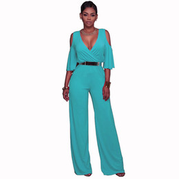 Chinese  V-neck strapless ruffled sleeves high waist wide-leg pants jumpsuit with belt manufacturers