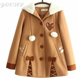 Wholesale Japanese Soft Sister Cute Radish Embroidered Women Woolen Hooded Coat Winter Casual Bow Sweet Cute Loose Brown Jackets