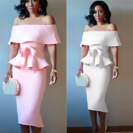 $enCountryForm.capitalKeyWord Australia - Fashion Women Sexy Two Piece Dress Vintage White Pink Strapless Shoulder Off Lotus Summer Evening Party Wear Q190510